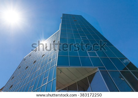 business center in a rays of sun - stock photo