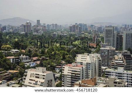 Business center of Santiago de3 Chile day landscape
