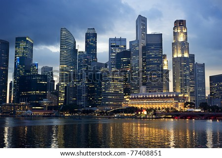 Business center of Singapore at night