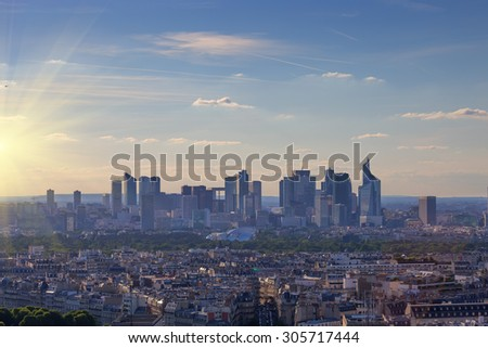 Business center with skyscrapers and cloudscape in Paris