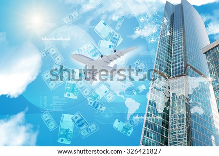 Business center with world map and graphs on blue sky background