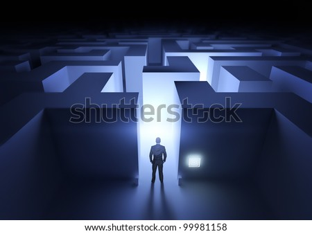 Business Challenge - A businessman at the entrance to a maze. - stock photo