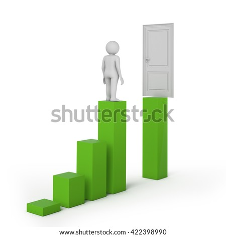 Business challenge concept with man standing on stairs. 3D rendering. - stock photo