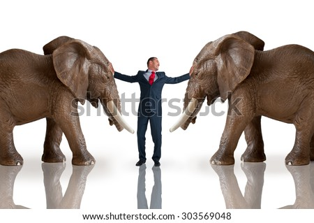 business challenge mediation concept - stock photo
