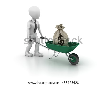 Business Character with Wheelbarrow and Money Sack on White Background - High Quality 3D Rendering  - stock photo