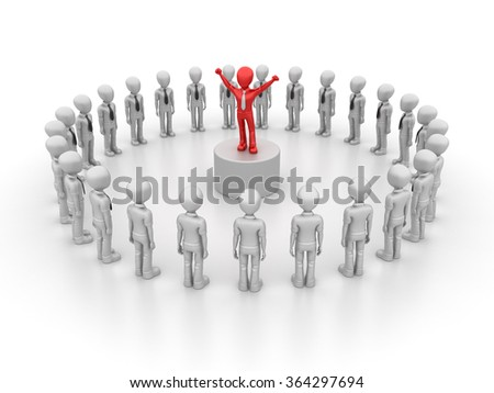 Business Characters with Leadership - Teamwork Concept - High Quality 3D Render - stock photo