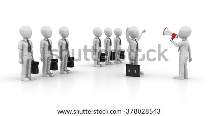 Business Characters with Leadership - Teamwork Concept - High Quality 3D Render