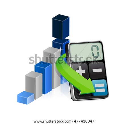 business chart and a calculator. illustration design graphic