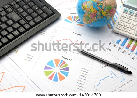 Business chart and business items - stock photo