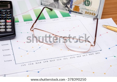 Business chart and eyeglasses, dollar, calculator