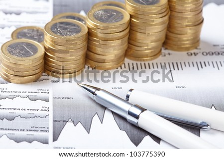 business chart, coin - stock photo