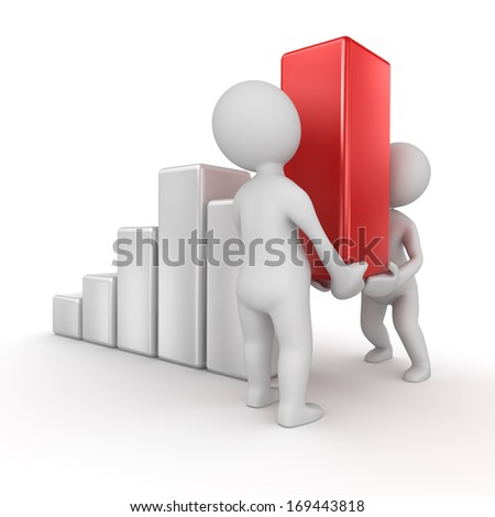Business chart , computer generated image. 3d render. - stock photo