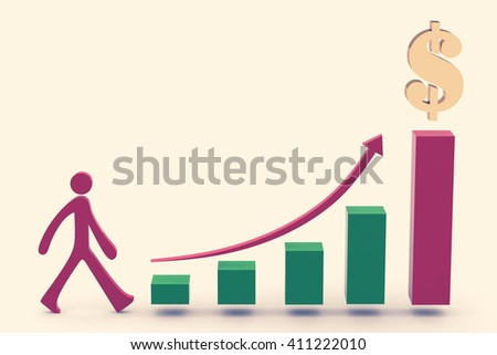 Business chart .3D illustration - stock photo