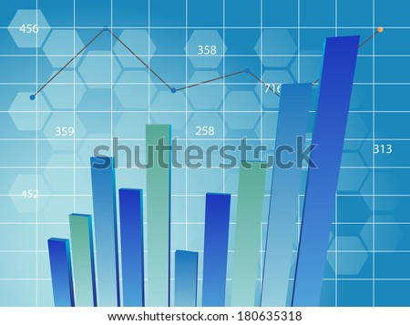 Business chart in blue with mosaic background - stock photo