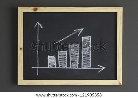 Business chart on a blackboard - stock photo