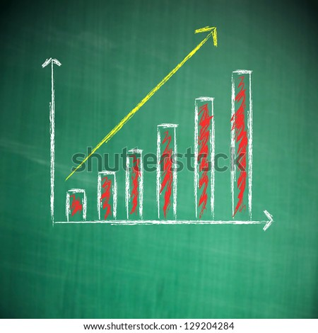 Business chart on blackboard