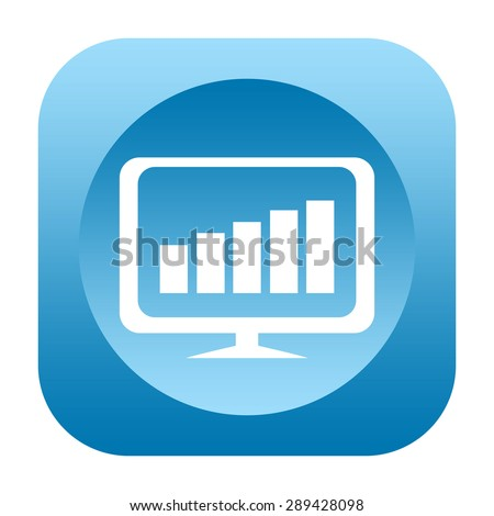 Business chart on computer monitor icon - stock photo