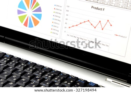 Business chart on PC screen