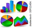 business chart set - stock vector