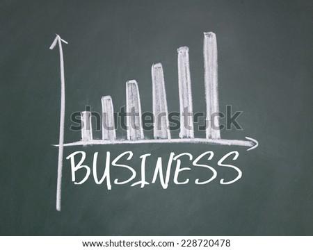business chart sign on blackboard - stock photo