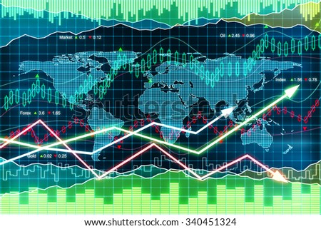Business chart with arrows, global business concept 3D Render
