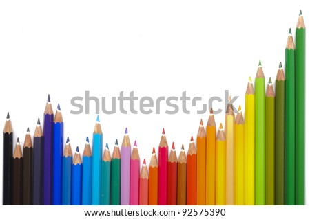 business chart with color pencil - stock photo