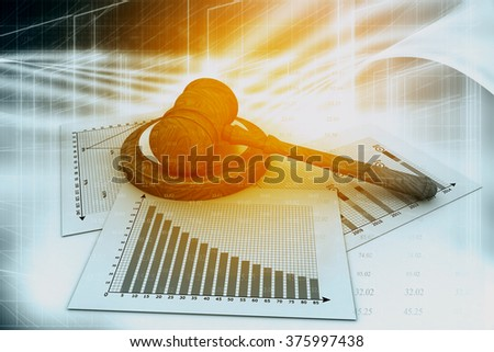 Business chart with judges court gavel	 - stock photo