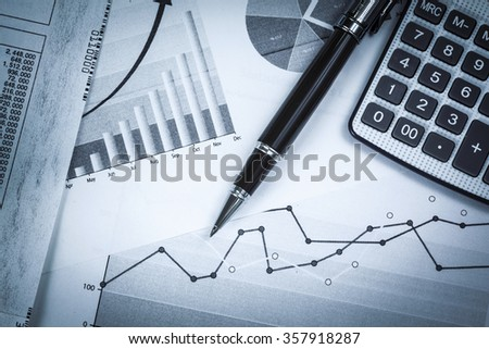 Business charts and calculator