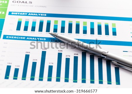 Business charts and graphs close up