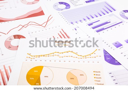 business charts, data analysis, marketing report and educational research, concepts for project management, financial growth, turnover forecast and global economic summarizing - stock photo