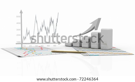 business charts, diagram bar, graphic - stock photo
