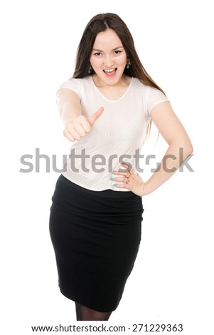 Business cheerful girl showing thumb. Asian model secretary. Isolated on a white background