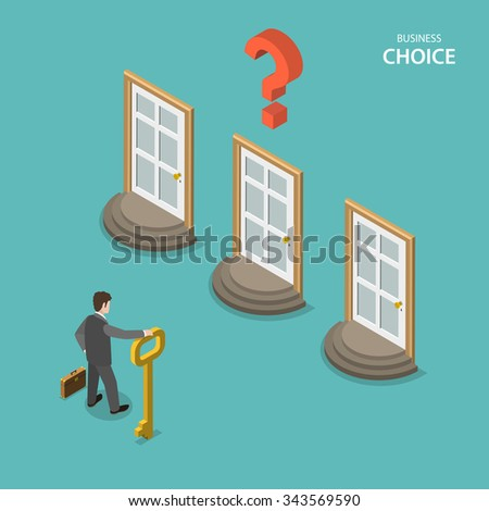 Business choice isometric flat concept. Businessman is trying to choose a right door to enter it. Choosing a right way to solve a problem. - stock photo
