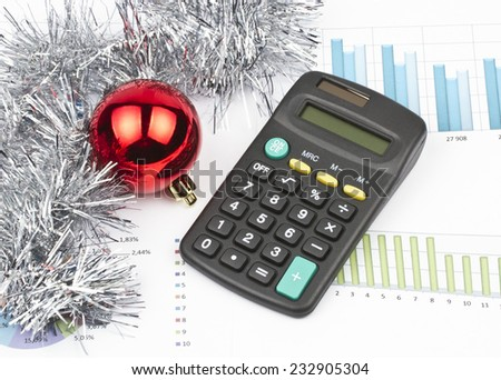 Business Christmas of red ball, calculator, tinsel - stock photo