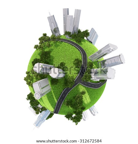 Business city on Earth on isolated white background