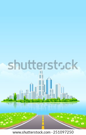 Business City on Island. Green Landscape with road - stock photo