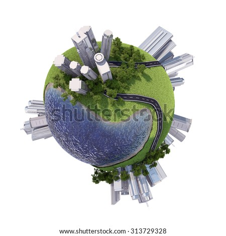 Business city with skyscrapers on Earth on isolated white background