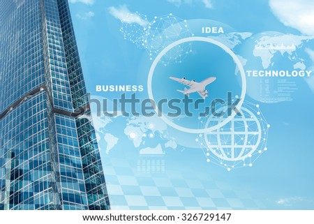 Business city with world map and jet on blue sky background