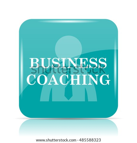 Business coaching icon. Internet button on white background.