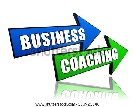 business coaching - text in 3d arrows, management develop concept - stock photo