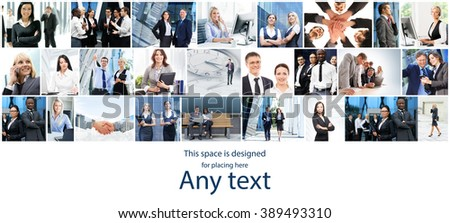 Business collage about teamwork, communication and time with copy space. - stock photo