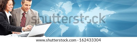 Business collage background. Business people group banner. - stock photo