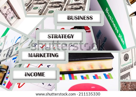 Business collage from different pictures of business theme - stock photo