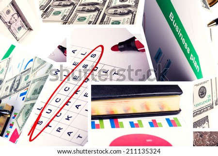 Business collage from different pictures on business theme - stock photo