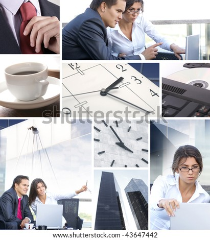 Business collage illustrating finance, communication, time, technology, real estate and business lifestyle - stock photo