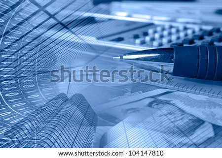 Business collage in blues with money, ruler, pen and calculator. - stock photo
