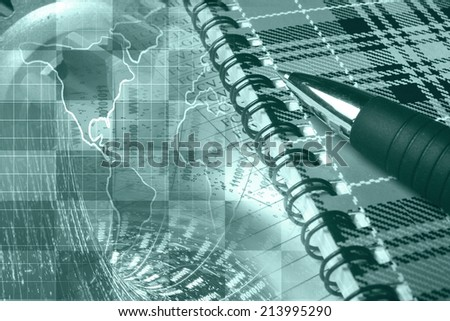 Business collage in greens with pen, notepad and map. - stock photo