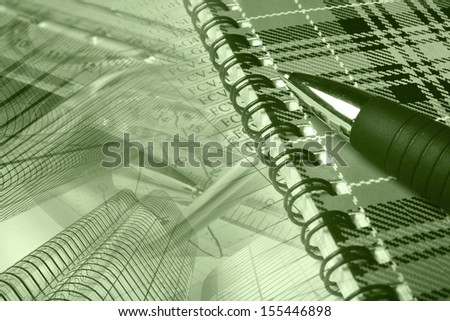 Business collage in greens with pen, notepad and table. - stock photo