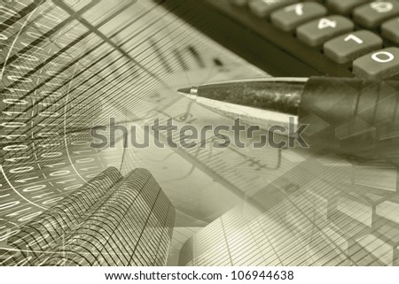 Business collage in sepia with graph, ruler, pen, buildings and calculator.
