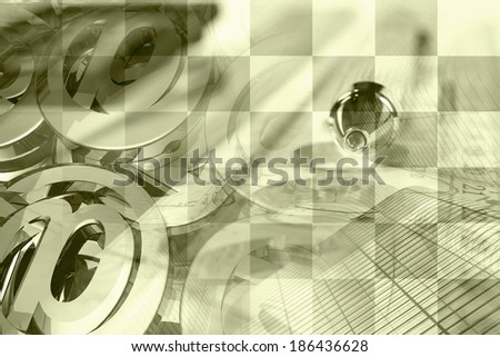 Business collage in sepia with pen, ruler and graph. - stock photo